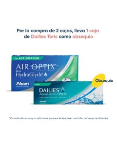 Pack Air Optix plus HydraGlyde Astigmatismo + Dailies Toric